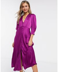 Ghost Фиолетовое Атласное Платье Миди С Пуговицами -фиолетовый - Пурпурный