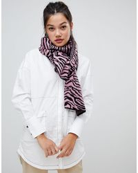 ASOS Zebra Print Knitted Scarf - Pink