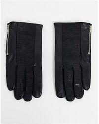 ASOS Черные Кожаные Перчатки С Молниями - Черный