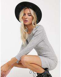 Bershka Puff Sleeve Mini Dress - Grey