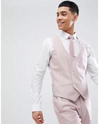 River Island - Oxford Suit Vest In Pink - Lyst