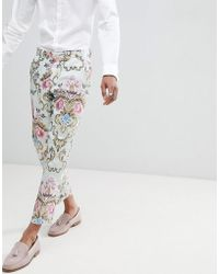 ASOS - Wedding Skinny Crop Suit Trousers In Pastel Floral Jacquard - Lyst