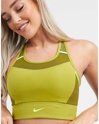 Nike Бюстгальтер Хаки Средней Поддержки С Логотипом -зеленый