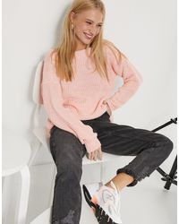 Glamorous Relaxed Jumper With Scoop Back - Pink