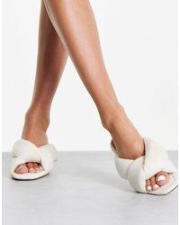NA-KD Towel Padded Mules - White