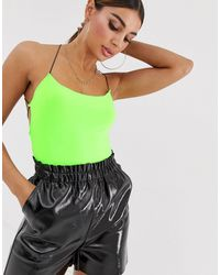Boohoo Lace Up Back Detail Body In Neon Green