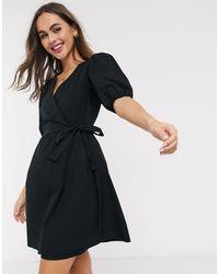 New Look Puff Sleeve Wrap Poplin Mini Dress - Black