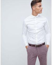 Jack & Jones Premium Super Slim-fit Net Overhemd Met Stretch - Wit