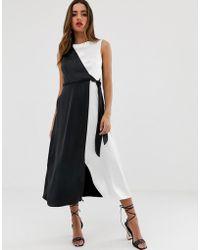 Closet Wrap Over Tie Side Pencil Dress - Black