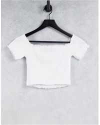 New Look Top blanco fruncido con escote Bardot