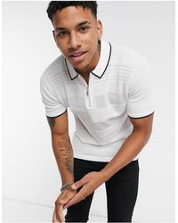 River Island Knitted Half Zip Polo - Multicolor