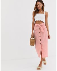 Stradivarius Button Front Midi Skirt With Bow - Pink
