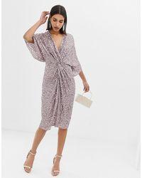 ASOS Scatter Sequin Knot Front Kimono Midi Dress - Gray