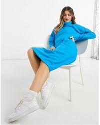 ASOS Super Soft Exposed Seam Jumper Midi Dress With Cowl Neck - Blue