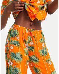 ASOS Asos Design Tall Exclusive Modal Palm Short Sleeve Shirt & Trouser Pyjama Set - Orange