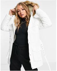 Brave Soul Pam - Cappotto imbottito con cappuccio con bordo - Bianco