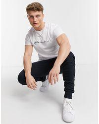 French Connection T-shirt a maniche lunghe bianca con logo scritto a mano - Bianco