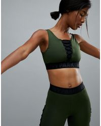 Ivy Park - Active Lace Up Bra In Khaki - Lyst