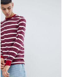 Nike - T-shirt a righe a maniche lunghe rossa 938020-618 - Lyst