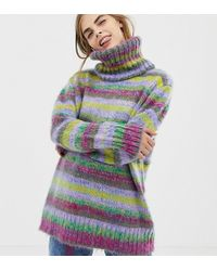 Collusion Space Dye Sweater With Roll Neck - Multicolor