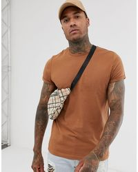 ASOS T-shirt With Crew Neck And Roll Sleeve - Brown
