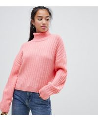 ASOS Asos Design Petite Fluffy Sweater In Rib With Roll Neck - Pink