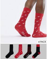 Levi's Набор Из 4 Пар Носков В Подарочной Упаковке Levis-мульти - Красный