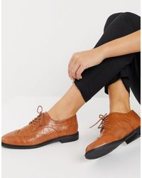 ASOS More Flat Lace Up Shoes - Brown