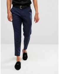 2008be6b2db34c ASOS Straight Crop Smart Trousers In Navy With White Side Stripe in ...