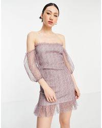 Vila Mini Dress With Chiffon Puff Sleeves - Pink