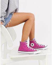 Converse Высокие Розовые Кроссовки С Блестками Chuck Taylor-розовый