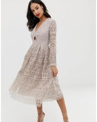 ASOS - Lace Long Sleeve Prom Midi Dress With Cut Out - Lyst