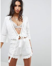 ebonie n ivory - Wrap Front Top With Broderie Trim Co-ord - Lyst