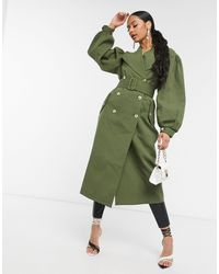 UNIQUE21 Full Sleeve Trench Coat - Green