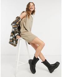 ASOS Padded Shoulder Sleeveless T-shirt Dress With You Are The Sun Print - Natural