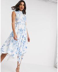 Closet Платье Миди С Цветочным Принтом И Высоким Воротником -белый