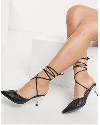 Glamorous Ruched Heeled Shoes With Ankle Tie - Black