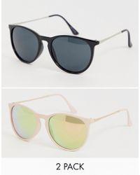 1ff7f600783 ASOS Asos 2 Pack Plastic Round Sunglasses In Coloured Lens in Blue ...