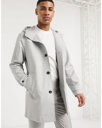 ASOS Hooded Trench Coat With Shower Resistance - Gray