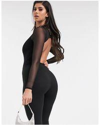 ASOS Hoogsluitende Bodysuit Met Extra Diepuitgesneden Achterkant - Zwart