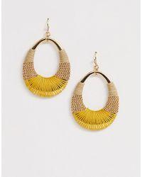 Pieces - Woven Hoop Earrings - Lyst