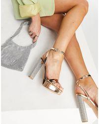 ASOS Natasha Platform Barely There Heeled Sandals - Metallic