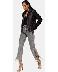 TOPSHOP Diamond Edge Straight Leg Jeans - Grey