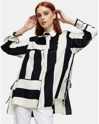 TOPSHOP Oversized Overhemd Met Strepen - Zwart