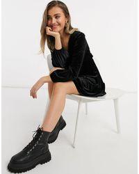Miss Selfridge Robe courte à manches longues en velours - Noir