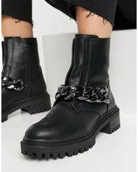 Bershka Черные Ботинки Челси С Цепочкой -черный Цвет