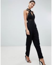 Love Triangle Multi Strap Jumpsuit With Contrast Lace Cross Front In Black