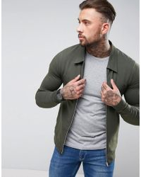 ASOS - Asos Muscle Fit Jersey Harrington Jacket In Khaki - Lyst