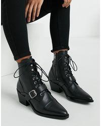 AllSaints Черные Кожаные Ботинки На Каблуке Со Шнуровкой И Пряжкой -черный