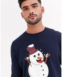 Jack & Jones Originals - Kerstsweater Met Sneeuwmanprint - Blauw